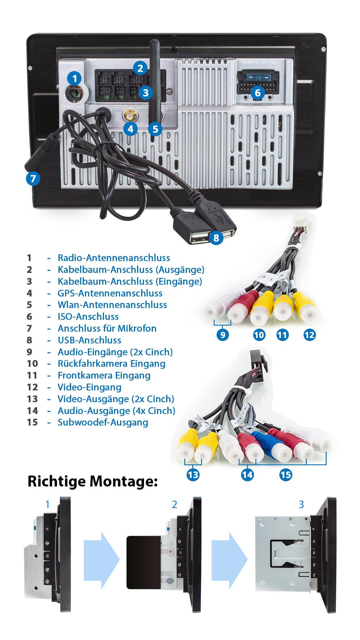 XOMAX-XM-2VA1001-Autoradio-mit-Android-711-I-XXL-Bildschirm-10-Zoll-25-cm-I-Navigation-I-Mirrorlink-I-Bluetooth-I-USB-SD-Anschlsse-fr-Rckfahrkamera-Lenkradfernbedienung-Subwoofer-I-2-DIN