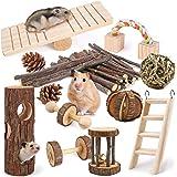 LOGEEYAR Lot de 12 Jouets à mâcher en Bois Naturel pour Petits Animaux Jouets de Hamster pour Les Soins Dentaires Cochon d'In