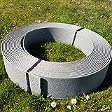 Rakaflex Stabile Rasenkante Beetumrandung Beeteinfassung Mähkante Profilkante (ca. 19 cm hoch x 25 m lang, Grau)