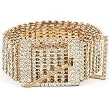 Women Rhinestone Belt Shiny Diamond Crystal Ladies Waist Belt for Jeans Dresses Silver Gold by WHIPPY