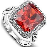 Anello donna Argento 925,EVER FAITH 5ct Radiante Taglio Zirconia Ceremonia Anello Rosso Colore