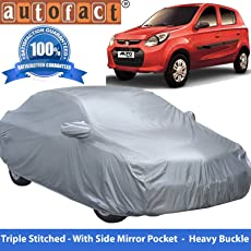 Autofact Premium Silver Matty Triple Stitched Car Body Cover with Mirror Pocket for Maruti Alto 800