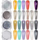 BORN PRETTY Nagelpoeder set manicurepoeder voor nageldesign met spiegel en glanseffect, zeemeerminnennagellak, parelglans
