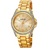 August Steiner Women's Crystal Bezel and Lugs Dress Watch - Sunburst Dial on Yellow Gold Tone Stainless Steel Bracelet - AS81