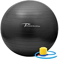 Timberbrother Anti-Burst Exercise Swiss Ball with Pump for Yoga, Pilates, Fitness, Physical Therapy, Gym and Home…