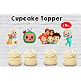 WoW Party Studio Cocomelon Theme Birthday Party Cup Cake Toppers (20 Pcs)