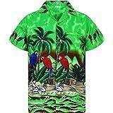V.H.O. Funky Hawaiian Shirt | Men | XS-12XL | Short-Sleeve | Front-Pocket | Hawaiian-Print | Parrots Palms Summer | Multiple