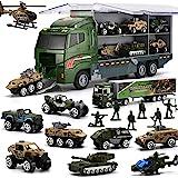 26 in 1 Camion E Soldatini Giocattoli Militari Kit, Mini Auto da Battaglia Pressofusa in Camion Portapacchi, Giocattolo dell'