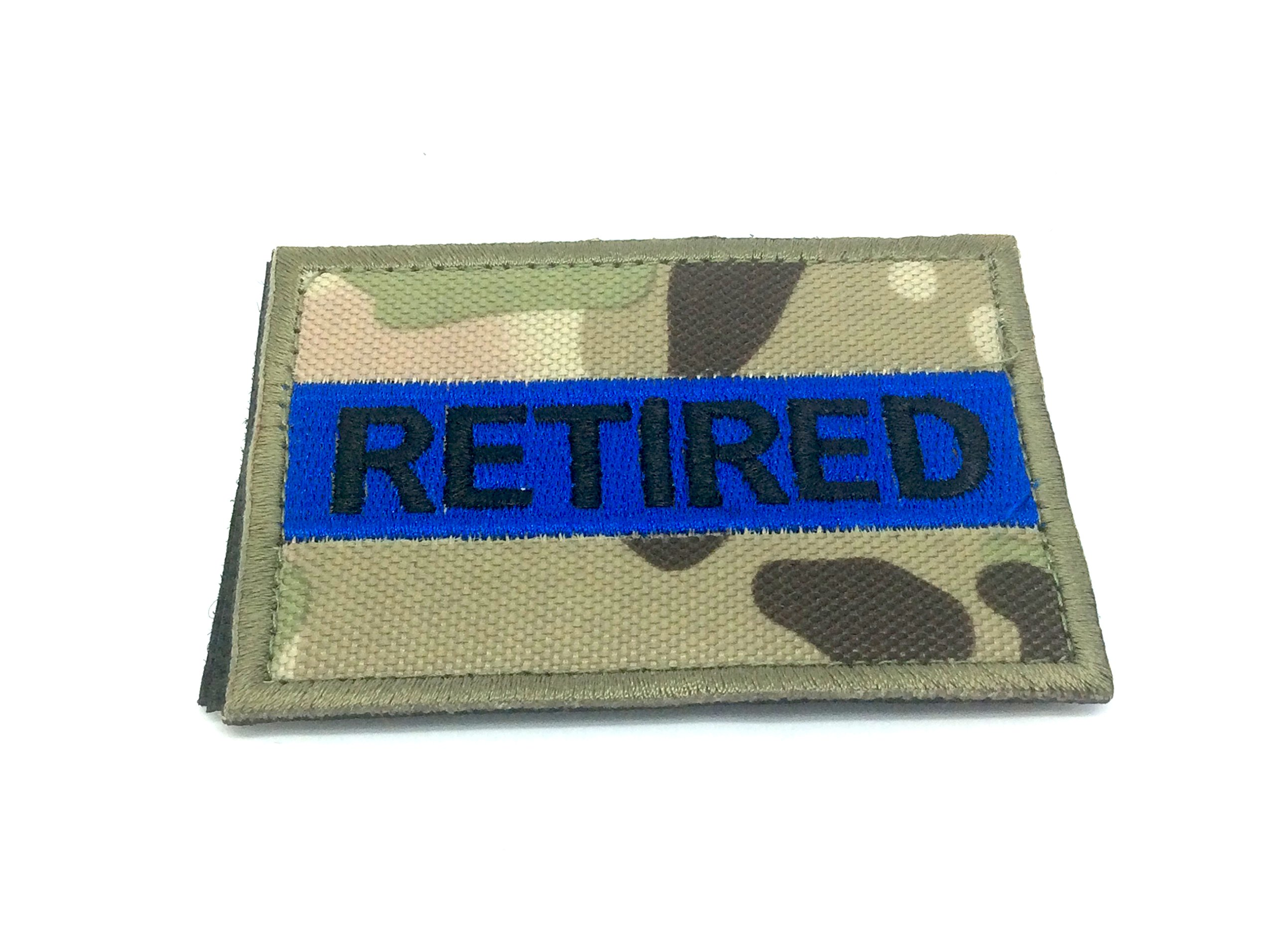 Retired Sottile Linea Blu Multicam Camo Ricamato Airsoft Patch Toppa