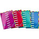 OXFORD Trieur Color Life 8 Positions Double Entrée Format A4 en Carte Pelliculée Fermeture Elastique Couleur Aléatoire