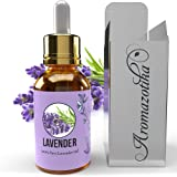 Aromazotika Lavender Essential Oil - 100% Pure, All Natural & Undiluted- Therapeutic Grade (Lavender, 15ml) Ideal for Skin &