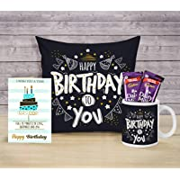 TIED RIBBONS Birthday Chocolate Gifts Hamper for Boyfriend Girlfriend Girls Boys Friend - Home Decoration Items (Coffee Mug, Cushion Cover with Filler (12 X 12 Inch), Greeting Card and Chocolates)