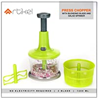 Artikel Jumbo Chopper with Blending Blade & Salad Spinner | Chops Vegetables, Nuts & Fruits | Minces Meat, Blends Flour & Beats Egg | Strains Water from Salad Greens | Extra Large - 1200 ml