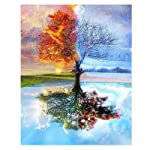Paint by Number Kit,Diy Oil Painting Four Season Tree Drawing Colourful Canvas with Brushes Christmas Decor Decorations...