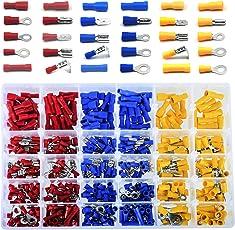 Kabelschuhe Quetschverbinder Sortiment, 480 tlg. Elektrische Steckverbinder Drahtklemmen enthält Ring-Kabelschuhe, Rundstecker, Rundsteckhülsen, Flachstecker, Flachsteckhülsen, Stoßverbinder und Flachsteckhülsen mit Abzweig