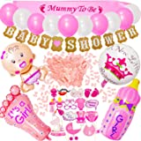 58pcs Baby Shower Decorations Girls - Girl Baby Shower Decorations Set Include Mummy to Be Sash, Baby Shower Photo Booth Props Balloons Banners Confetti for Baby Shower Favor (Pink)