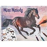 Depesche Depesche-DP-0011458 11458 Miss Melody-Libro, 36 diseños de Caballos de ensueño para Colorear y Pegar, Incluye 3 Hoja