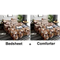 Kuber Industries Square Design Glace Cotton AC Comforter King Size Bed Comforter, Double Bed Sheet, 2 Pillow Cover (Brown, 90x100 Inches)-Set of 4 Pieces - CTKTC40452