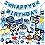 WOBBOX Second Birthday Photo Booth Party Props Blue for Baby Boy with 2nd Birthday Bunting Banner for Baby Boy in Blue, 2nd B