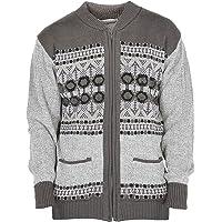 Mens Classic Style Cardigan Argyle Diamond Pattern & Plain Casual Design Zip Up Thick Knit Warm Winter Grandad Sweater…
