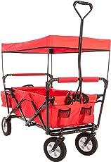 Ultrasport faltbarer Wagen, Bollerwagen, Picknickwagen, Handkarre mit Transporthülle und Dach, Rot