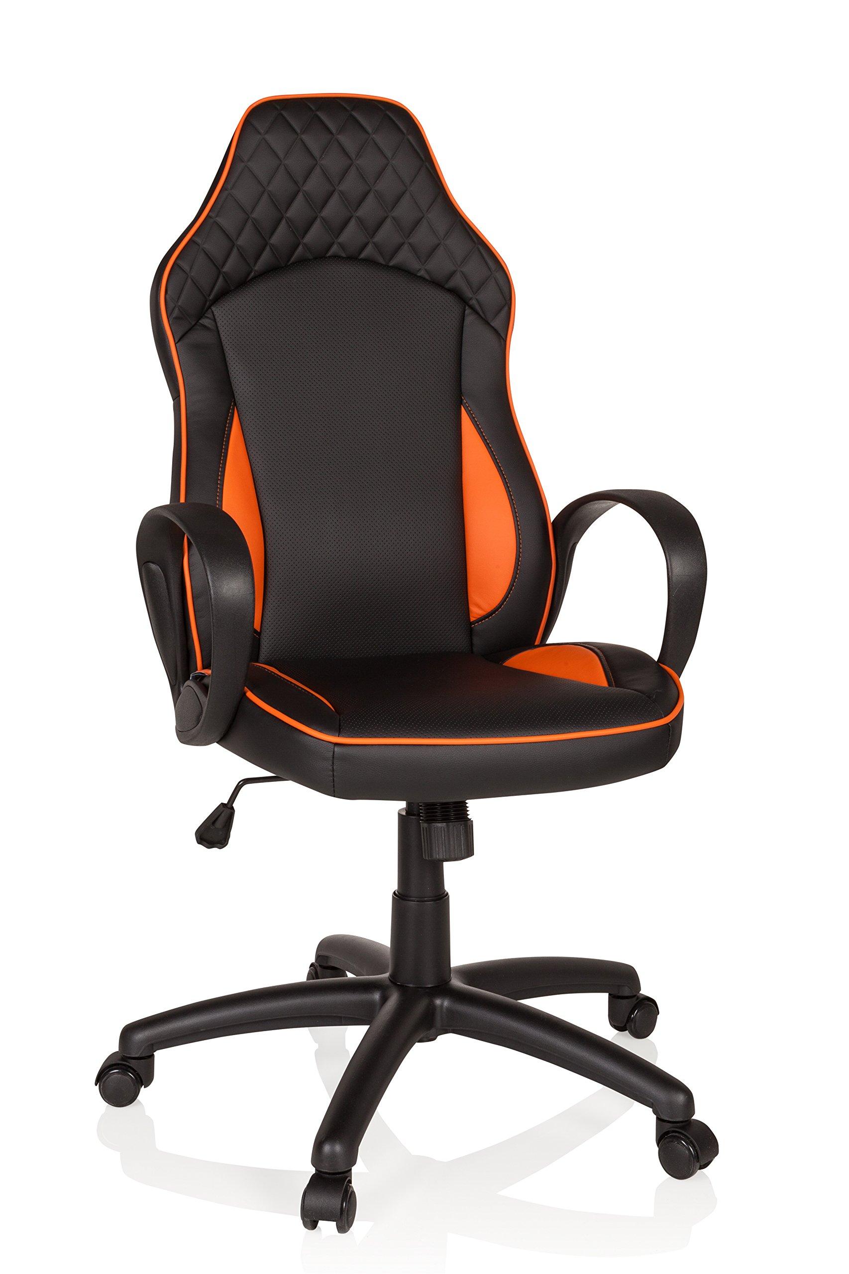hjh OFFICE 621948 Silla Gaming BAZA Piel sintética Negro/Naranja Silla de Oficina Silla Racing