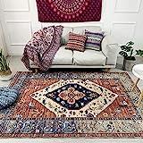 سجادة ناعمة بنمط تقليدي عتيق بحواف مزينة بالازهار وسهلة التنظيف لغرفة المعيشة - احمر 160 x 230cm , 5.3 ft x 7.5 ft احمر