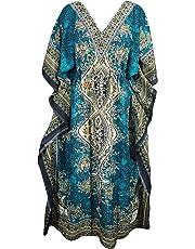 Pal Bro's Store Indian Women's Free Size Long Floral Printed Beach Wear Kaftan - Teal Blue