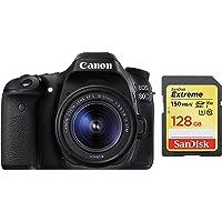 Canon EOS 80D 24.2MP Digital SLR Camera (Black) + EF-S 18-55mm STM Lens Kit + SanDisk 128GB Extreme SDXC UHS-I Card - C10, U3, V30, 4K UHD, SD Card