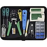 Chairlin Tester rete, Strumenti Kit di Rete Professionali 13 in 1, Pinza Crimpatrice rj45, tester rete lan, tester per cavi d