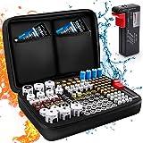 Keenstone Caja Para Pilas, Organizador de Pilas Dura Con Capacidad Para 139 Pilas AA AAA C D 9V - Caja de Batería Con Comprob