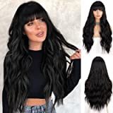 Stamped Glorious Black Wigs for Women Long Curly Wavy Wig with Bangs Middle Part Natural Looking Long Thick Wavy Wig for Dail