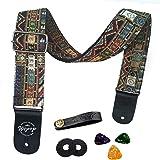 Tracolla per chitarra Cinturino basso elettrico chitarra acustica stile vintage regolabile con estremità in cuoio, plettri, f