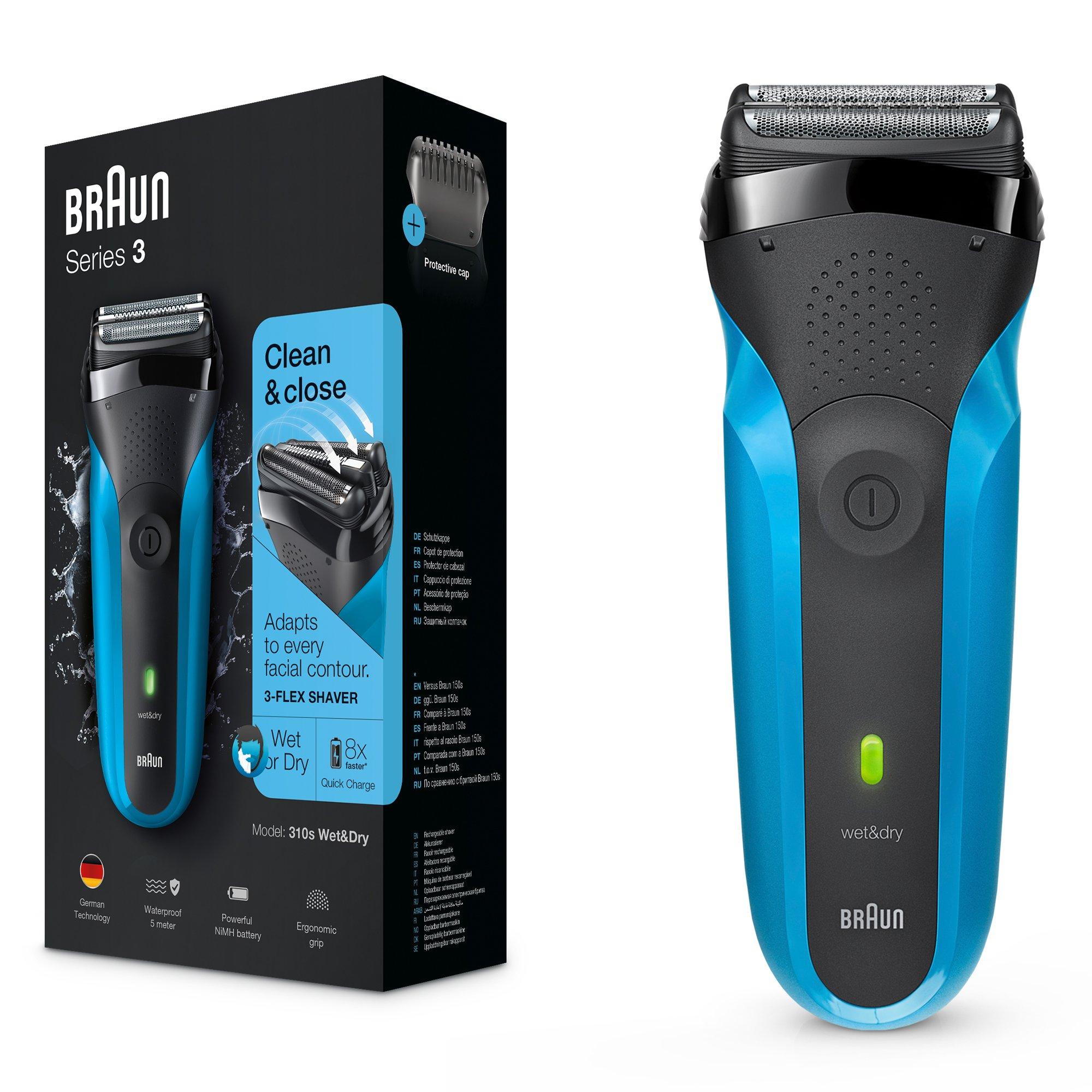 Braun Series 3 310 s Wet & Dry – Afeitadora eléctrica para hombre recargable, máquina de afeitar barba, color azul