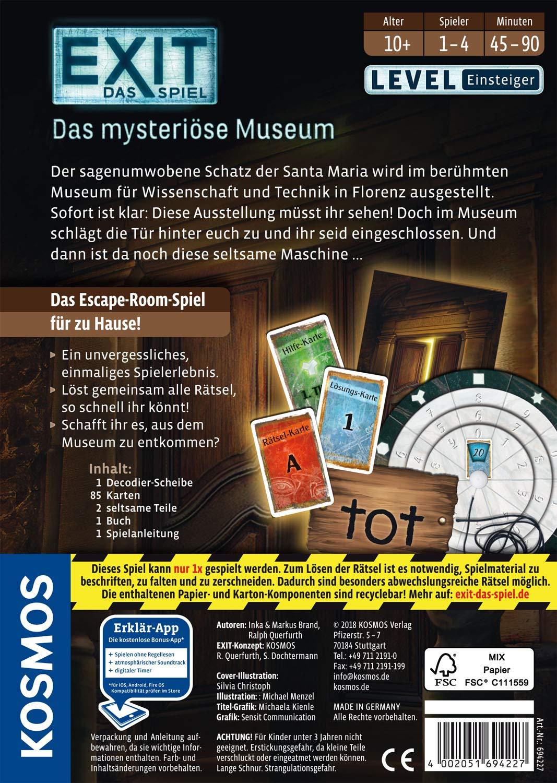 KOSMOS-694227-EXIT-Das-Spiel-Das-mysterise-Museum-Level-Einsteiger-Escape-Room-Spiel-fr-1-bis-4-Spieler-ab-10-Jahren-einmaliges-Event-Spiel-fr-Erwachsene-und-Kinder