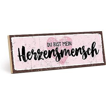 Typestoff Holzschild Mit Spruch Du Bist Mein Herzensmensch Im