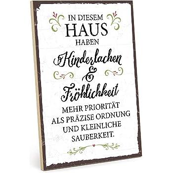 TypeStoff Holzschild mit Spruch – KINDERLACHEN UND