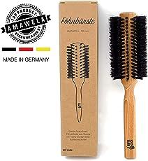 KOST KAMM Föhnbürste rund | Ø 50 mm | Fönbürste rund | Rundbürste gedreht mit Naturborsten | Haarbürste für Damen | Naturhaarbürste für kurzes und mittellanges Haar | Naturhaar-Föhnbürste Holz mit harten Wildschweinborsten | Perfekte Pflege-Haarbürste zum Föhnen, Stylen und Glätten | MADE IN GERMANY | Material: Buche gewachst