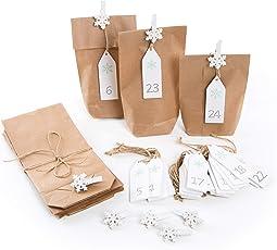 Adventskalender Bastel-Set mit 24 braunen natur Papiertüten 10,7 x 22 x 4,2 cm + Zahlen Holztafeln zum Aufhängen weiß grün 1 bis 24 + 24 Schneeflocke Holzklammern