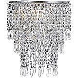 Waneway 3 tiers plafondkroonluchter hanglamp met acryl druppels, kralenkap met chromen frame en heldere kralen, Diameter 22 c