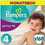 Pampers Active Fit Windeln,Gr.4, Maxi 8-16kg, Monatsbox, 1er Pack (1 x 168 Stück)