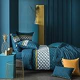 Libre Cours Parure Housse de couette Hector A Coloris Bleu Canard imprimé 240 x 220