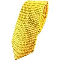 TigerTie - cravatta stretta di seta - giallo dalie gialle argento lavorato - Cravatta 100% seta