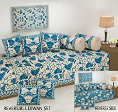 Reversable Diwan Set (You can Used This from Both Side) Premium Quality, Lattest Design, 500 TC, Velvet Chenille Fabric, Diwan Set - 8pc by Fresh from Loom