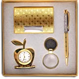 Smart World Crowned 4 in 1 Gift Set with Table Clock, Metal Keychain, Card Holder and Crystal Pen Set