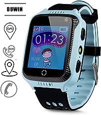 DUWIN 2018 -Telefon Uhr Haben Abhörfunktion, für Kinder, SOS Notruf+Telefonfunktion, Live, Funktioniert weltweit, Anleitung + App Support auf Deutsch