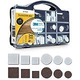 goodspot® Viltglijders zelfklevend met 3M lijm - 288 stuks in praktische doos - rond, hoekig, donkerbruin, wit - meubelglijde