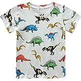 Camiseta de manga corta para niño, diseño de dinosaurios con impresión 3D, algodón