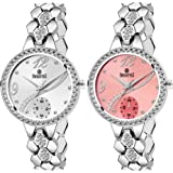 SWISSTYLE Analog Men's Watch (Silver & Gold Dial, Silver & Rose Gold Colored Strap) (Pack of 2)