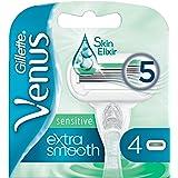 Gillette Venus Extra Smooth Sensitive Rasoio Donna + 4 Lamette di Ricambio Con Striscia Lubrificante
